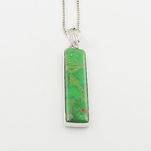 Gaspeite Sterling Silver Oblong Pendant - Keja Designs Jewelry