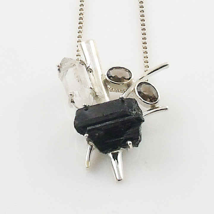 Herkimer Diamond, Black Tourmaline Rough & Smoky Quartz Sterling Silver Pendant - Keja Designs Jewelry