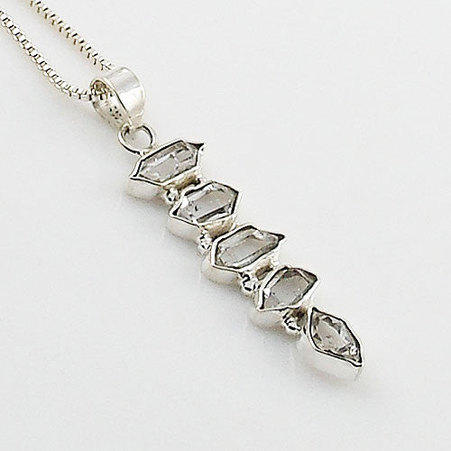 Herkimer Diamond Sterling Silver Line Pendant - Keja Designs Jewelry