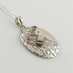 Kunzite Rough Crystal Sterling Silver Pendant - Keja Designs Jewelry