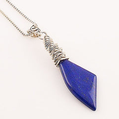 Lapis Shard Sterling Silver Pendant - Keja Designs Jewelry