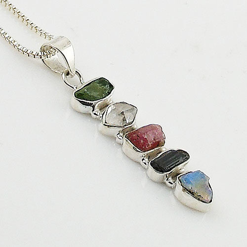 Moldavite, Pink & Black Tourmaline, Herkimer Diamond, & Ethiopian Opal Rough Pendant - Keja Designs Jewelry