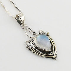 Moonstone Two Tone Sterling Silver Pendant - Keja Designs Jewelry