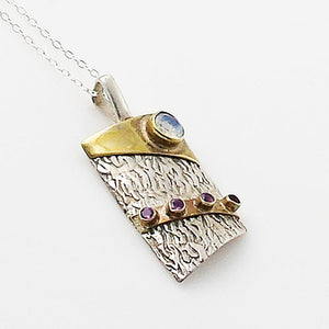 Moonstone & Amethyst Two Tone Sterling Silver Pendant - Keja Designs Jewelry