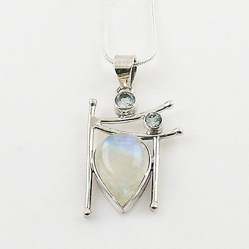 Blue Topaz & Moonstone Sterling Silver Pendant - Keja Designs Jewelry