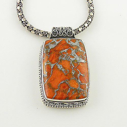 Orange Copper Turquoise Sterling Silver Pendant - keja jewelry - Keja Designs Jewelry