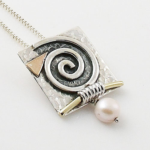 Pearl Two Tone Sterling Silver Spiral Pendant - Keja Designs Jewelry