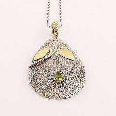 Peridot Two Tone Sterling Silver Leaf Pendant - Keja Designs Jewelry