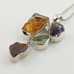 Citrine, Amethyst, Aquamarine & Garnet Rough Multi-Stone Sterling Silver Pendant - Keja Designs Jewelry