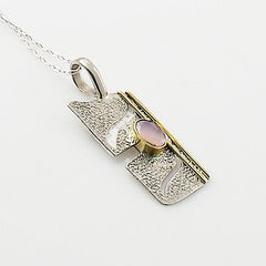 Rose Quartz Two Tone Asymetrical Sterling Silver Pendant - Keja Designs Jewelry