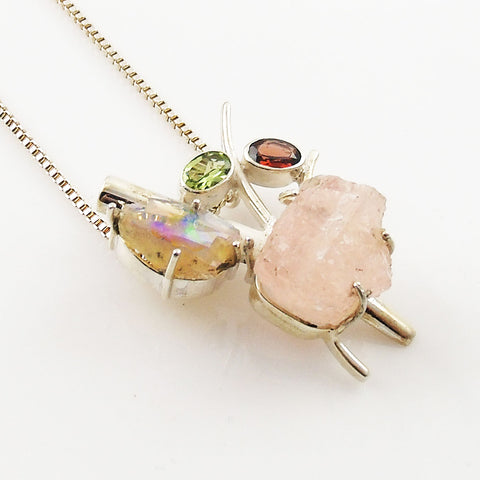 Rose Quartz Rough, Ethiopian Opal Rough, Garnet & Peridot Sterling Silver Pendant