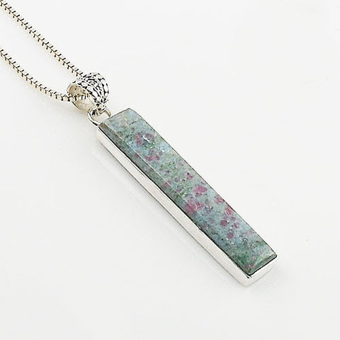 Ruby In Fuschite Sterling Silver Oblong Pendant