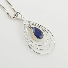 Sapphire Sterling Silver Tear Drop Pendant - Keja Designs Jewelry