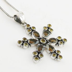 Citrine & Smoky Quartz Sterling Silver Snow Flake Pendant - Keja Designs Jewelry