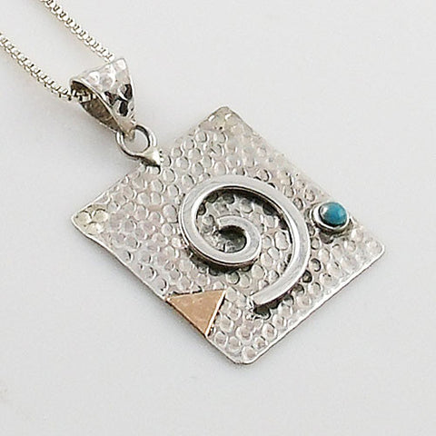 Turquoise Two Tone Sterling Silver Spiral Pendant - Keja Designs Jewelry