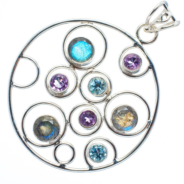 Multi Stone Circles Sterling Silver Pendant - Keja Designs Jewelry
