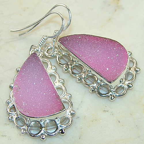 Pink Begonia Drusy Earrings - Keja Designs Jewelry