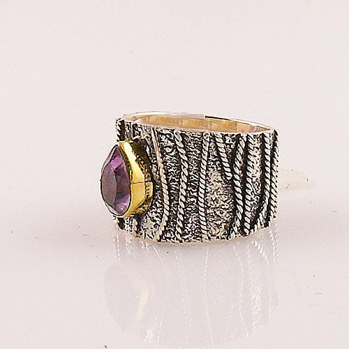 Amethyst Two Tone Sterling Silver Textured Band Ring - Keja Designs Jewelry