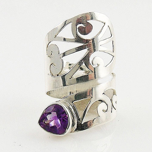 Amethyst Adjustable Sterling Silver Cutout Wrap Ring - Keja Designs Jewelry