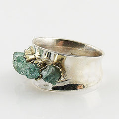 Aquamarine Rough Two Tone Sterling Silver High Polish Ring - Keja Designs Jewelry