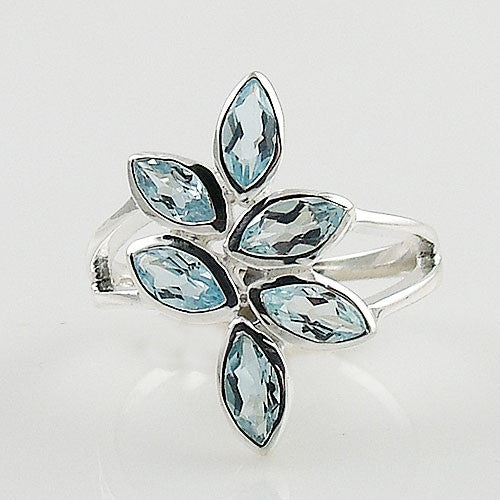 Blue Topaz Sterling Silver Leaf Ring - Keja Designs Jewelry