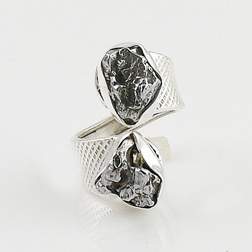 Campo de Cielo Meteorite Sterling Silver Adjustable Ring - Keja Designs Jewelry