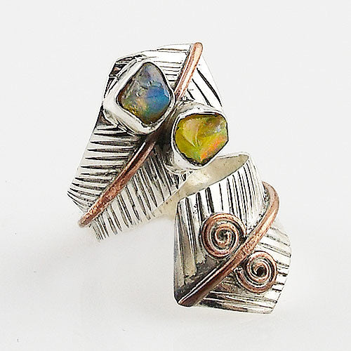 Ethiopian Opal Rough Sterling Silver Two Tone Spiral Adjustable Wrap Ring - Keja Designs Jewelry