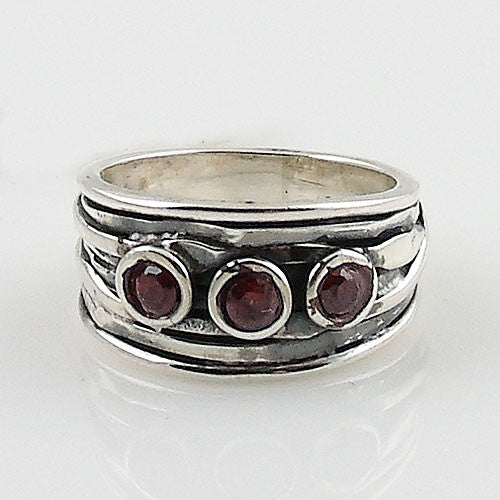 Garnet Strands of Silver Ring - Keja Designs Jewelry