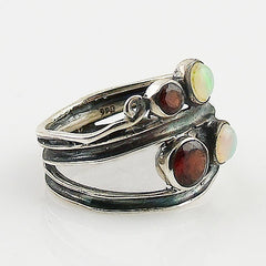 Ethiopian Opal & Garnet Sterling Silver Swirl Patina Band Ring - Keja Designs Jewelry