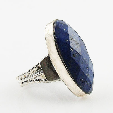 Faceted Lapis Sterling Silver Ring