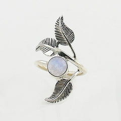 Moonstone Sterling Silver Leaf Ring - Keja Designs Jewelry