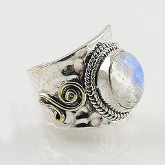Moonstone Two Tone Spiral Sterling Silver Adjustable Ring - Keja Designs Jewelry