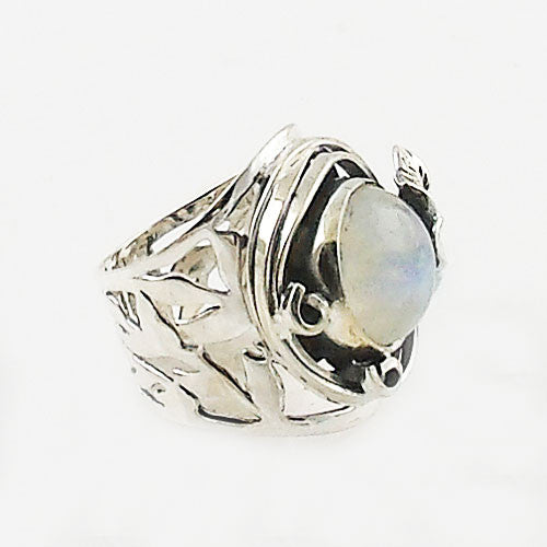 Moonstone Hibiscus FLower Sterling Silver Ring - Keja Designs Jewelry