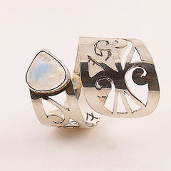Moonstone Adjustable Sterling Silver Cutout Wrap Ring - Keja Designs Jewelry