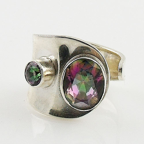 Mystic Topaz Sterling Silver Adjustable Wrap Ring - Keja Designs Jewelry