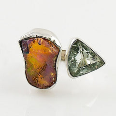 Praisiolite & Ethiopian Opal Rough Sterling Silver Adjustable Ring - Keja Designs Jewelry
