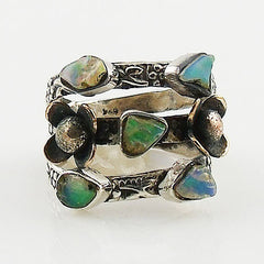 Ethiopian Opal Rough Two Tone Sterling Silver Floral Band Ring - Keja Designs Jewelry