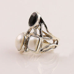 Ebony & Ivory - Black Onyx & Pearl Sterling Silver Ring - Keja Designs Jewelry
