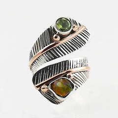 Ethiopian Opal Rough and Peridot Three Tone Adjustable Wrap Ring - Keja Designs Jewelry
