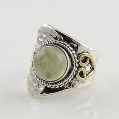Prehnite Two Tone Sterling Silver Adjustable Ring - Keja Designs Jewelry