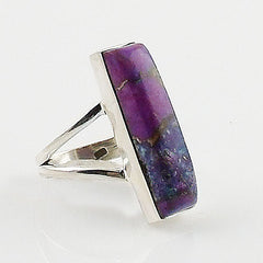 Purple Copper Turquoise Sterling Silver Oblong Ring - Keja Designs Jewelry