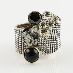 Black Onyx & Pyrite Drusy Sterling Silver Two Tone Ring - Keja Designs Jewelry