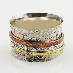 Spinner Ring Three Tone Leaf Texture - Keja Designs Jewelry