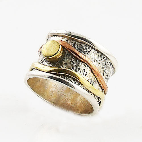 Spinner Ring - Three Tone Rimmed Edge Round Enhancement - Keja Designs Jewelry