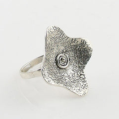 Textured Four Leaf Clover Sterling Silver Artisan Ring - Keja Designs Jewelry