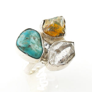 Herkimer Diamond, Ethiopian Opal Rough & Turquoise Sterling Silver Ring - Keja Designs Jewelry