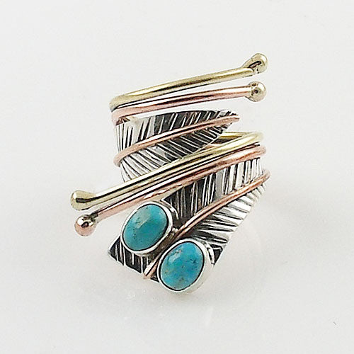 Turquoise Three Tone Sterling Silver Adjustable Leaf Wrap Ring - Keja Designs Jewelry