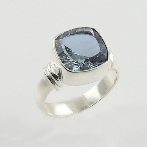 Alexandrite Cushion Cut Sterling Silver Ring