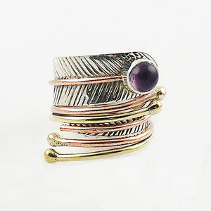 Amethyst Cabochon Three Tone Sterling Silver Adjustable Wrap Ring - Keja Designs Jewelry