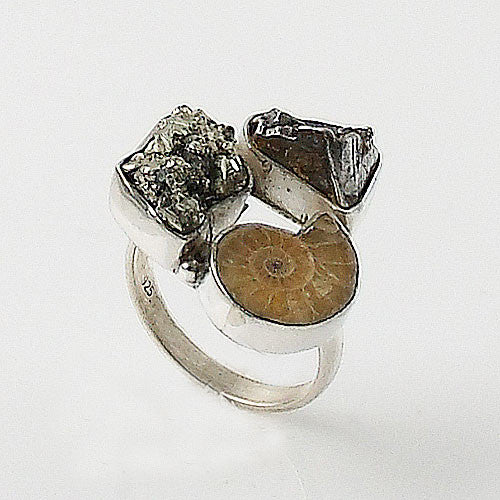 Campo de Cielo Meteorite, Pyrite & Ammonite Sterling Silver Ring - Keja Designs Jewelry